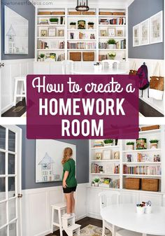 Homework Room Makeover - After you see this room you'll want one too! Homework Room Makeover - After you see this room you'll want one too! Click The Link For See Remodeling Mobile Homes, Home Remodeling, Kids Homework Room, Hangout Room, Learning Spaces, Dream Home Design, Creative Home, Home Decor Accessories, Decorating Your Home