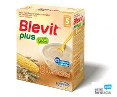 Papilla de 8 cereales. Con un CONTENIDO DE HARINAS DEXTRINADAS SUPERIOR AL 90% y con efecto bífidus para facilitar el tránsito intestinal. Desde el quinto mes.#Blevitplus #8cereales