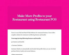 Make More Profits to your Restaurant using Restaurant POS
