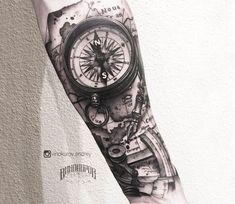 Compass tattoo by Andrey Vinokurov