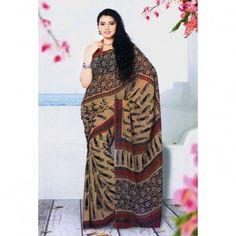 Burlywood shade saree with printed motif for $30