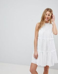 ASOS ULTIMATE Sleeveless Broderie Trapeze Dress