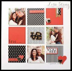 12 x 12 SCRAPBOOK LAYOUT ~ Love the collage of squares and how she has laid out her photos to make it look well balanced.