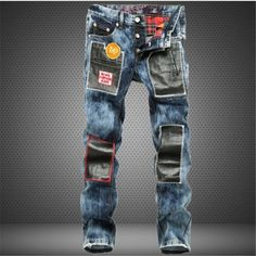 (49.99$)  Watch now  - spot supply of snow wash splicing straight tube jeans pants, Europe and the United States Youth Youth Fashion City