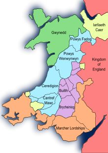 Wales after the Treaty of Montgomery 1267    Gwynedd, Llywelyn ap Gruffudd's principality    Territories conquered by Llywelyn ap Gruffudd    Territories of Llywelyn's vassals    Lordships of the Marcher barons    Lordships of the King of England