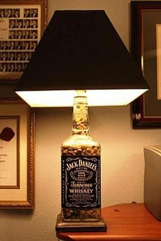 * would be awesome in the gameroom/man& cave* DIY Lamp. I made one of these using a demo wine bottle and it turned out great! Just buy the bottle lamp kits at walmart! - Eric would love this in his man cave Jack Daniels Lampe, Jack Daniels Bottle, Garrafa Diy, Diy Bottle Lamp, Bottle Bottle, Man Cave Diy, Man Cave Lamps, Lampe Decoration, Liquor Bottles
