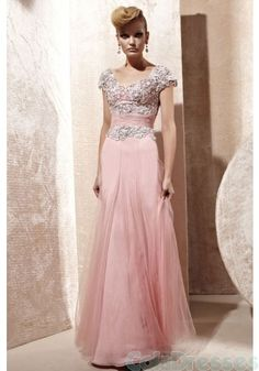 Pleasantly Pink Modest Homecoming Dress with Sleeves