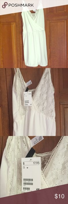 Selling this White Lace Romper in my Poshmark closet! My username is: jachensm. #shopmycloset #poshmark #fashion #shopping #style #forsale #H&M #Dresses & Skirts