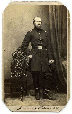 Carte de visite of Amos B. Rhoads by Mathew B. Brady of New York City and Washington, D.C. Rhoads (1836-1863) started his war service as a sergeant in the Eleventh Pennsylvania Infantry, a regiment organized for a three-month term of enlistment in the spring of 1861. He returned to the army later that year as a first lieutenant in the Seventh Pennsylvania Cavalry. Captured during a skirmish near Murfreesboro, Tennessee, on July 13, 1862, he spent the rest of the year as a prisoner of war…