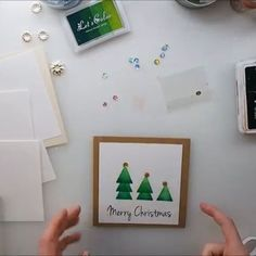 Easy Christmas Cards Full video TUTORIAL on my YouTube channel: Maremi SmallArt #cardmaking #maremismallart #cardoftheday #cardmakinghobby #craftvideo #craft #crafting #stamp #stamping #christmascrafts #christmascard #crafthack #craftholic
