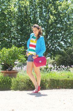 Micro shorts and colourfull stripes | Irene's Closet - Fashion blogger outfit e streetstyle