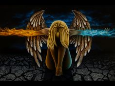 Image 137 - Airbrushed nude with wings. Orange and blue flames coming off arms. 24 x 36 inches Custom Airbrushing, Fantasy Portraits, Air Brush Painting, Blue Flames, Fire And Ice, Custom Paint, Angel Fire, Nude, Baseboards