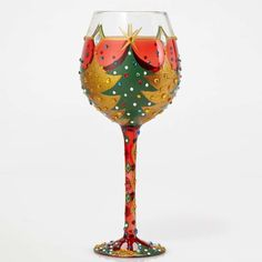 Enesco Bling Oh Christmas Wine Glass by Lolita, This super size 22 oz wine glass has tons of bling and comes packaged in trunk style case with recipe and special message from Lolita hand wash only Unique Wine Glasses, Painted Wine Glasses, Christmas Wine Glasses, Christmas Trivia, Kitchen Wall Art, Kitchen Living, Living Room, Kitchen Decor, Wine Decor