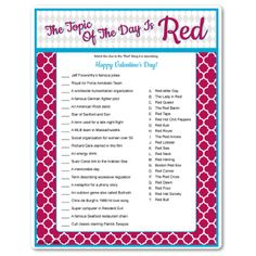 Every answer in this game has the word red in it! Perfect for a day that's all about the color of love! Valentines game.