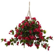 Bougainvillea Hanging Plant in Basket | Coastal Chic decor inspiration | Nearly Natural silk/faux floral arrangements | Red flowers for a pop of color