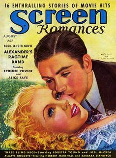 Alice Faye & Tyrone Power - Screen Romances, Aug.