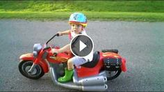 """Custom Ride Ons - Harley Davidson For Kids - Custom Ride Ons Modified Power Wheels - 12V PW Red Harley-Davidson Motorcycle - 12V to 18V Upgrade - """"First Run&quo"""