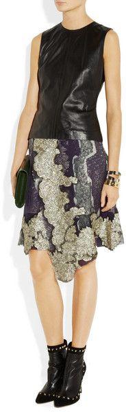 Michael Van Der Ham Lacetrimmed Chiffon Skirt in Gray | Lyst