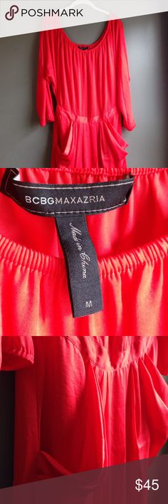 BCBGMAXAZRIA DRESS BCBG Dress. Orange/Red color. Lined but still Very light. Tag says medium, but would definitely fit a large. Elastic waist and elastic stretch on neckline. Could be worn off the shoulders. Worn and washed. Smoke/animal free home. BCBGMaxAzria Dresses