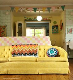 Yellow couch... for my house without boys and dogs, of course.