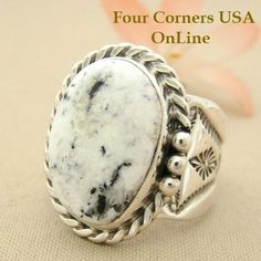 Four Corners USA Online Native American Artisan Jewelry - Men's White Buffalo Turquoise Ring Size 10 3/4 Navajo Tony Garcia American Indian Silver Jewelry NAR-1472, $218.00 (http://stores.fourcornersusaonline.com/mens-white-buffalo-turquoise-ring-size-10-3-4-navajo-tony-garcia-american-indian-silver-jewelry-nar-1472/)