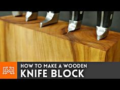 Woodworking School How to make a wooden knife block (that holds your cookbook) - I Like to Make Stuff - Woodworking School, Easy Woodworking Projects, Woodworking Videos, Woodworking Plans, Diy Projects, Diy Toy Storage, Crate Storage, Desk Organization Diy, Diy Desk