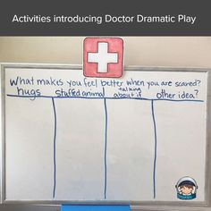 When introducing a new dramatic play theme in preschool, it is important to intentionally plan for activities that will help introduce the topic. For example here is one to introduce a doctor's theme or hospital theme dramatic play center. Find other introduction activities by clicking the link. Doctor Theme Preschool, Preschool Literacy, Kindergarten Activities, Kindergarten Classroom, Preschool Ideas, Classroom Activities, Dramatic Play Themes, Dramatic Play Centers, Letter G Activities