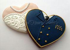 Heart Bride and Groom Cookies