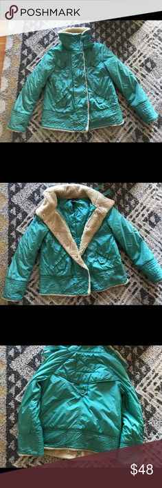 Marc Jacobs jacket size S. Re posh of an adorable cozy jacket! Fits like a 6 or so. Faux shearling lined. I love this but realized doesn't go that well w my stuff. Well loved but looks great on the outside which doesn't show much wear that I can tell. Pre loved with lots of life left! Sea foam green color Marc Jacobs Jackets & Coats Utility Jackets