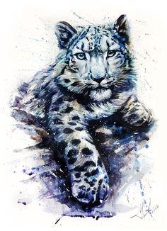 Snow leopard, animals, watercolor, wild, cat, illustration, graphic, wildlife, art, animal, design, drawn, white, isolated, hand, nature, creative, paint, big, poster, beautiful, painting, predator, big cat, kostart, danger, bars, irbis