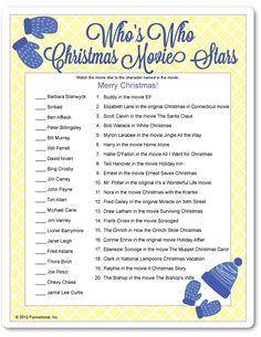 Printable Who's Who Christmas Movie Stars