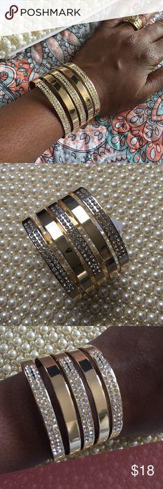 Trendy Gold Bangle Cuff Beautiful Large pave smooth metal cuff w/rhinestones stones. Jewelry Bracelets