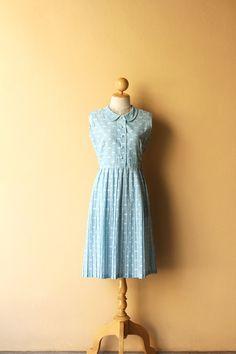 OPENING SALE 25% Vintage 1970's Casual Dress / Jaquad Cotton Dress / Pastel Blue / Tiny Gingham & White Ikat Flower Pattern