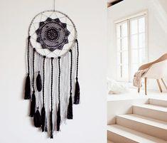 Dreamcatcher wall hanging handmade large black gray boho