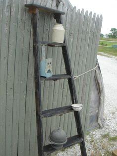 vintage wooden 5 step ladder shelf 58 tall choose a vintage surface or pick a color