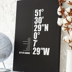 Etsy user ILoveDesignLondon creates these fantastic City Coordinates Canvases - for pretty much any City you can think of. I have a feeling we'll soon be seeing a YYZ canvas in the e-studio if a certain Cinema-Assassin has his way.