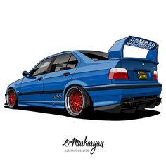 BMW M3 E36 Sedan vector illustration