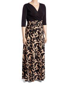 Loving this Black & Tan Floral Surplice Maxi Dress - Plus on #zulily! #zulilyfinds
