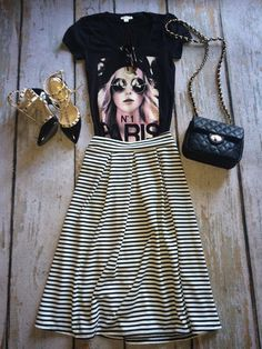 Pleated midi striped skirt   SexyModest Boutique #skaterskirt #stripedskirt #valentino #tee