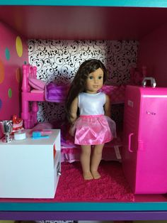 American Girl Dollhouse using IKEA Stuva. Bunk beds and school locker from Walmart. Dresser from Micheals.