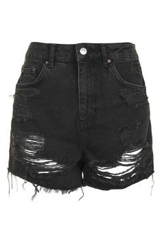 Think distressed-cool with these longer length MOTO high-waisted denim shorts. Features ripped details, authentic trims and multiple pockets for added practicality. #Topshop