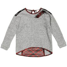 Illudia grey sweater with sparkly silver metallic thread woven throughout. It has a sequin and ribbon brooch on the neckline which can be removed. There is a contrasting black lace panel across the shoulders and a lined red tartan chiffon panel on the back. It is hemmed with tartan chiffon and ties behind the neck in a bow.The back islonger than the front, making these perfect for wearing with leggings.<br /> <ul> <li>73% cotton, 18% acrylic, 4% polyester, 3% visose, 2% ...