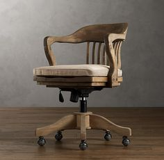 Fantastic -1940s Banker's Chair Weathered Oak Drifted - Home Office Chair $495