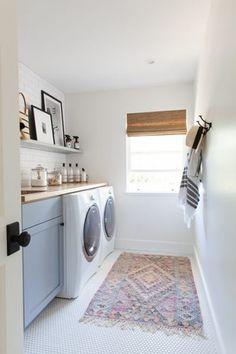 A modern take on a classic farmhouse Farmhouse Laundry Room, Laundry In Bathroom, Ikea Laundry, Laundry Rooms, Basement Laundry, Laundry Area, Bathroom Small, Laundry Room Organization, Laundry Room Design