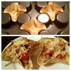 Make no-fry mini tortilla cups with the Pampered Chef Mini-Muffin Pan-$17 don't forget the tart shaper-Mini Tacos anyone. www.pamperedchef.biz/kimcooks4u