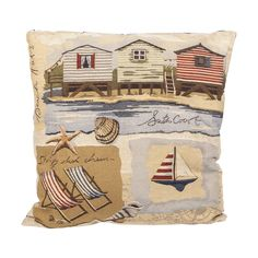 Beach Hut Tapestry Filled Cushion