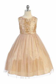 Champagne Sleeveless Taffeta Dress with Soft Glittered Flower Girl Dress  MB-299-CM on 27e1e203b28e5