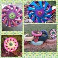 Hubcap flowers & Tire planters