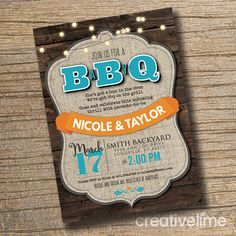 BABY Q Shower Invitation BBQ Joint Baby Shower Barbeque Baby
