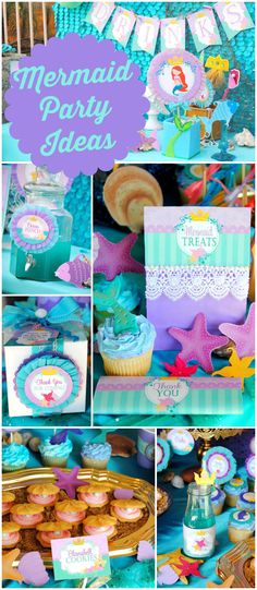 What a stunning mermaid girl birthday party! See more party ideas at CatchMyParty.com!